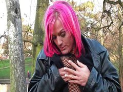 Handicapped lesbian redhead making out public