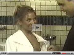Blonde fucked hard in the mensroom