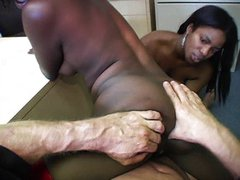 Ebony threesome office babes taking a break