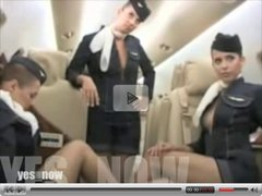 Air hostesses show boobs on an airplane