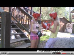 Blond teen boxers love strap-on sex!