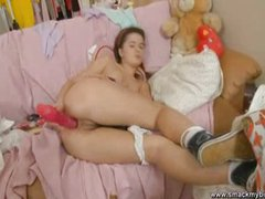 Lara teen school girl with a dildo masturbate
