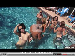 Mofos - Three slutty GFs start a huge outdoor pool orgy