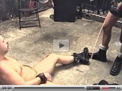 Chubby slave brought down and used by leather-clad master
