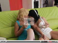 Three amateur old and young lesbians have fun on the couch