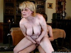 Horny mature mom with big tits fucking