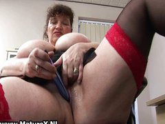 Horny fat mature lady fucks