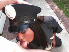 Ebony police officer girl fucking white dick