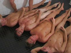 Group men have fun in bath house
