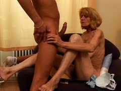 Blond granny fucking hard in the living room