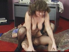 Mature ladyboss sucking employee