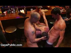 Huge dick gay flogged in public bar