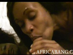 Two black African amateurs threesome sex