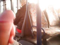 jerking for blonde mature woman on bus 3
