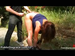 Bound babe fucked in the park grass