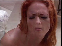 Smoking hot redhead corners a burglar & gets butt-banged in the bargain