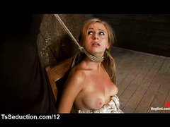 Bound in chair gagged babe vibrated