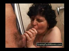 Big ass granny sucking cock