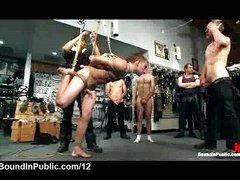Bound suspended gay gangbanged