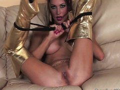 Sexy Kayla solo'ing in gold high boots