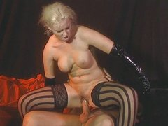 Blonde throatfucked in hell
