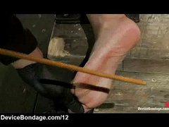 Bound and gagged Asian feet caned