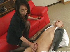 Painfully torturing slave's cock