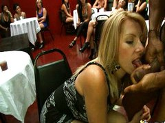 Babe takes cum to the face at party