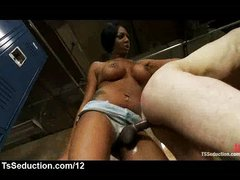 Big boobs black tranny fucks white guy