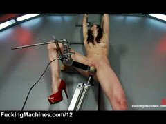 Brunette in high heels machine fucked