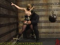 Slutty office girl is told to strip
