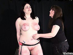 Amateur bdsm and extreme lesbian domination of chubby slave girl in hardcore whipping and punishments to tears