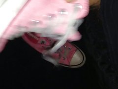 Cumming all over my pink converse sneakers