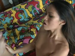 Hot Asian girl fucked by a big white cock