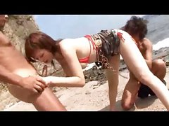 Japanese Threesome on the Beach
