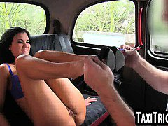 Busty amateur brunette gets licked by her taxi driver