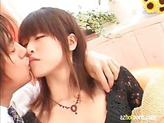 Japanese teen in hot kissing