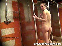 Hot teen caught on shower spy camera