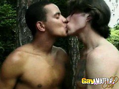 Superb twinks Wellington And Anthony making love in the forest