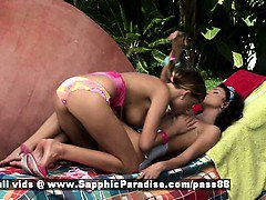 Billy and Jaquelin stunning brunette and redhead lesbian teens kissing in the nature