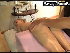 Blonds pussy exposed during massage