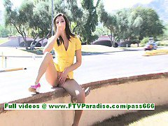 Madeline angelic brunette teenage fingering and public tits flashing
