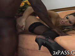 Beauteous girl fucked by black boy-friend