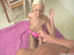 Blonde Bimbo Gets A Cumblast