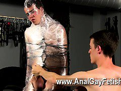Gay sex Cristian is almost swinging, packaged up in rope and fettered