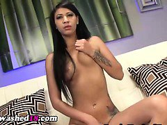 Hypno teen uses dildo and fingers