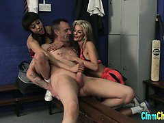 Clothed cfnm femdoms blowjob
