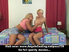 Amateur superb sexy blonde lesbian girls with natural tits undressing