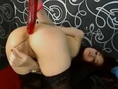 Lovely Skinny Teen Anal Dildo & Beads
