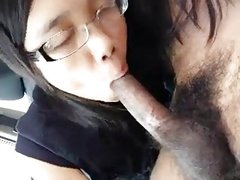 Asian Teen hot Blowjob in moving car